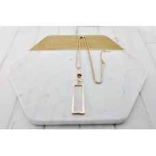 Rose Gold Rectangle Necklace