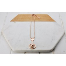 Matt Rose Gold Ball on Rod Necklace
