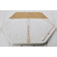 Rose Gold Flower w Tassel Necklace