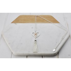 Mixed Double Heart & Tassel Necklace
