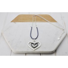 Navy Heart & Bead Necklace