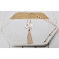Rose Gold Double Ring & Tassel Necklace