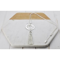 Silver Double Ring & Tassel Necklace
