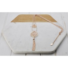 2 Layer Rose Gold Scroll & Tassel Necklace