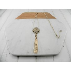 Gold Tree and Tassel Necklace