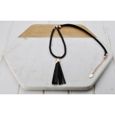 Rose Black Cord/Tassel Necklace