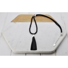 Silver Black Bead/Cord/ Tassel Necklace