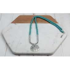 Turquoise Beads with Silver Scroll Pendant Necklace