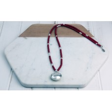 Red and Silver Beads with Silver Disc Pendant Necklace