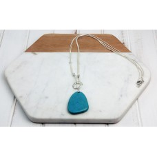 Turquoise Stone on a Silver Snake Chain Necklace