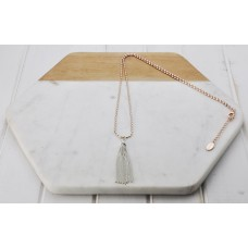 Rose Gold Rice Chain with Silver Tassel Necklace