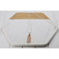 Silver Rice Chain with Rose Gold Tassel Necklace