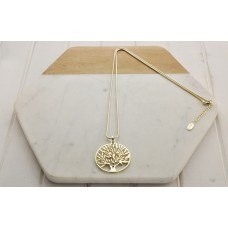 Gold Tree Of Life Bead Pendant w Snake Chain Necklace