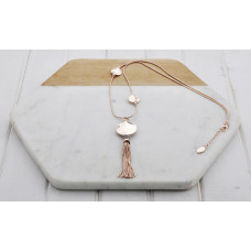 Rose Gold 3 Disc Tassel Necklace