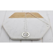 Silver Ball Chain Ring& Disc Necklace