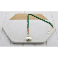 Green Beads with Gold Disc Necklace