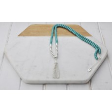Turquoise Beads w Silver Tassel Necklace