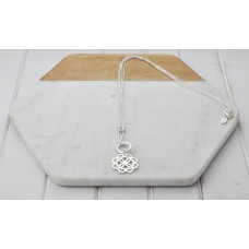 Silver Double Chain & Flower Pendant Necklace