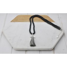 Grey Bead and Tassel Necklace