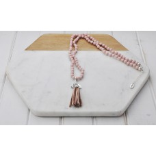 Pink Bead and Tassel Necklace