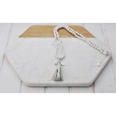 White Bead and Tassel Necklace