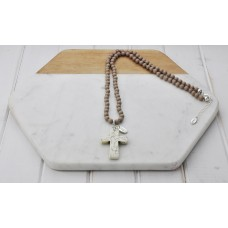 Beige Beads with Stone Cross Pendant Necklace