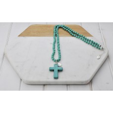 Turquoise Beads with Stone Cross Pendant Necklace
