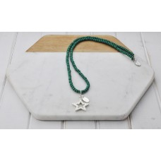 Green Bead with Star Necklace