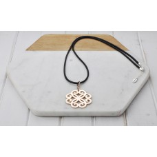 Black Cord with Rose Gold Scroll Pendant Necklace
