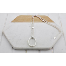 Silver Oval Light Grey Disc Necklace