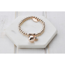 Rose Gold Beads with Ball & Crystal Bracelet