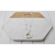 Short Rose & Silver Double Chain Necklace