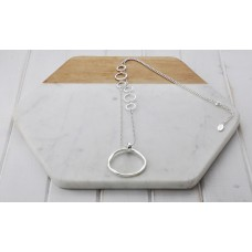 Silver Large Ring with Small Rings Necklace