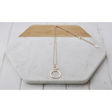 Fine Rose Gold Ball Chain with 2 Rings Necklace