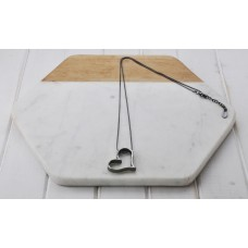 Long Hematite Chain with Angle Heart Necklace