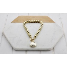 Short Gold Bead & Disc Necklace