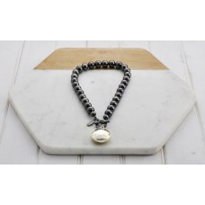 Short Hematite & Disc Necklace