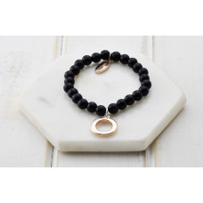 Black Bead Rose Ring Bracelet