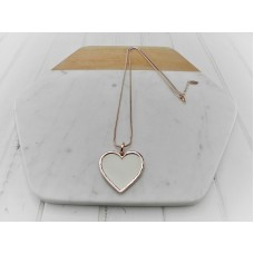 Rose Gold with Bangle White Leather Heart