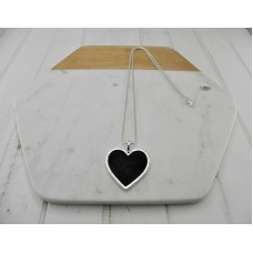 Silver with Black Leather Heart Necklace