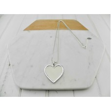 Silver with White Leather Heart Necklace