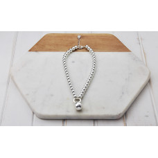 Silver Short Bead Ball Necklace
