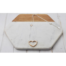 Mixed Silver & Rose Gold Heart Necklace