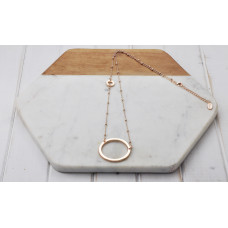 Rose Gold Ball Chain Ring Necklace