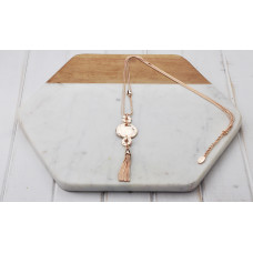 Rose Battered Disc/Tassel Necklace