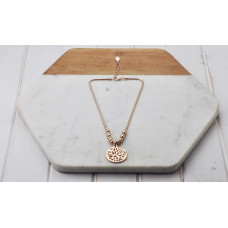 Rose Cut Out Disc Necklace