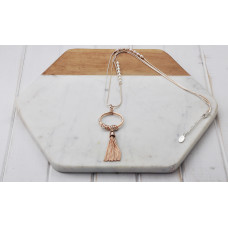Mixed Silver & Rose Gold 2 Chain/Pearl/Ring/Tassel Necklace