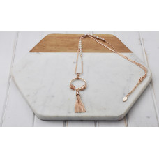 Rose Gold 2 Chain/Pearl/Ring/Tassel Necklace