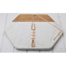 Rose 3 Pendant /Tassel Necklace