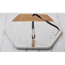 Rose & Black Bead Square Pendant Necklace
